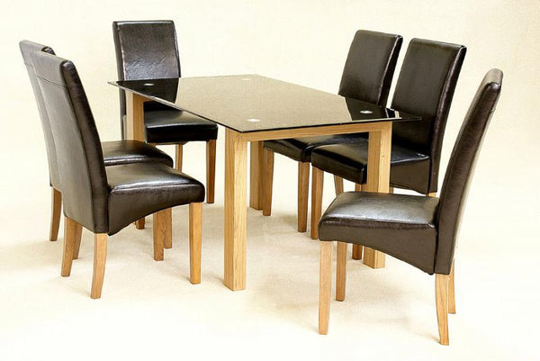 Heartlands FurnitureAdina Large Dining Table in Black Glass with 6 chairsBlue Ocean Interiors