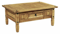 Heartlands FurnitureCorona Coffee Table with 1  Drawer in Distressed Waxed Light PineBlue Ocean Interiors