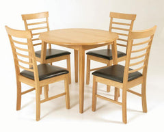 Hanover Solid Hardwood Round Dropleaf Table with 4 Chairs  wood dining table and chairs- Blue Ocean Interiors