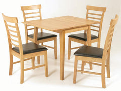Hanover Solid Hardwood Square Dropleaf Table with 4 Chairs  wood dining table and chairs- Blue Ocean Interiors