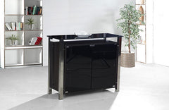 Malvern Black Glass Sideboard 2 Doors with Chrome Frame  sideboard- Blue Ocean Interiors