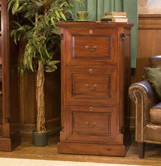 La Roque Three Drawer Filing Cabinet in Mahogany  filing cabinets- Blue Ocean Interiors