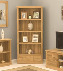 Mobel Large 3 Drawer Bookcase in Solid Oak  bookcase- Blue Ocean Interiors