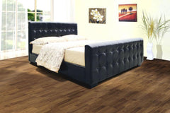 "Dakar 6'0"" Bedstead in PU Finish 2 Colours Available  leather bed- Blue Ocean Interiors"
