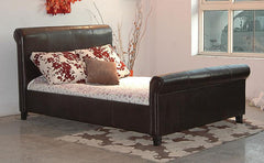 Henley 4'6'' Double Bedstead in PU Finish 2 Colours Available  leather bed- Blue Ocean Interiors
