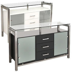 Glass Top Sideboard Available in White Or Black Gloss  sideboard- Blue Ocean Interiors
