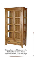 WiseactionFlorence Rustic Oak Display Cupboard/Bookcase with Glass DoorsBlue Ocean Interiors