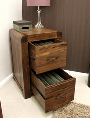 Shiro Two Drawer Filing Cabinet In Walnut  filing cabinets- Blue Ocean Interiors