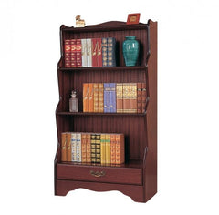 Mahogany Waterfall Bookcase with Drawer  bookcase- Blue Ocean Interiors