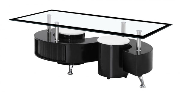 Heartlands FurnitureBoule Coffee Table High Gloss Black with Black Border Glass TopBlue Ocean Interiors