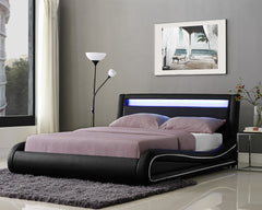 Omega King Size Faux Leather Bed with LED Headboard  leather bed- Blue Ocean Interiors