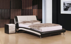 Holborn Double Bedframe in Black and White PU  leather bed- Blue Ocean Interiors