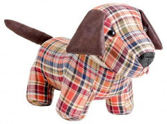 Red Tartan Doggy Door Stop  ornament- Blue Ocean Interiors