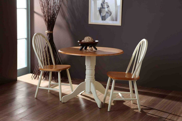 Vida LivingBrecon Round Dining Table With 2 Chairs in ButtermilkBlue Ocean Interiors