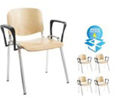 Taurus 4 x Wooden Chrome Frame Stacking Chairs With Arms  conference and meeting chair- Blue Ocean Interiors