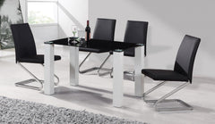 Heartlands FurnitureDelta Dining Table in Black Glass and High Gloss Frame With 4 ChairsBlue Ocean Interiors