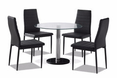 TGC FurnitureBordeaux Glass Dining Table Set with 4 ChairsBlue Ocean Interiors