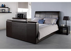 "Manhattan TV Bed 4'6"" Black Leather Finish  leather bed- Blue Ocean Interiors"
