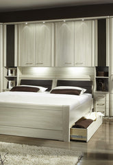 Luxor 4 Overbed Unit With 33cm Open Side Elements Drawers and Textured Doors  overbed wardrobe- Blue Ocean Interiors