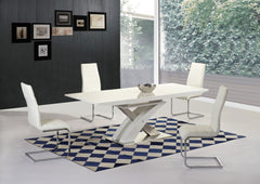 Mayfair XO White Glass Top High Gloss White Base Extending Dining Table with 6 Arora Chairs  glass dining tables and chairs- Blue Ocean Interiors