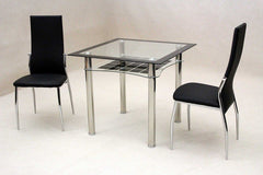 Jazo Black Glass Dining Table with 2 Chairs  glass dining tables and chairs- Blue Ocean Interiors