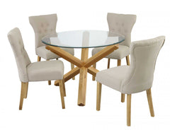 Oporto Round Dining Table in Solid Oak and Clear Glass with 4 Naples Chairs  glass dining tables and chairs- Blue Ocean Interiors