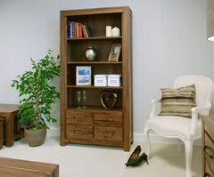 Mayan Large 4 Drawer Bookcase in Walnut  bookcase- Blue Ocean Interiors