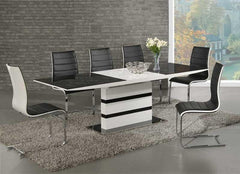 GiataliaArctic Extending Dining Table in Black Glass With 6 Encore ChairsBlue Ocean Interiors
