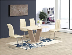 Zara Small Cream Glass Dining Table with 4 Enzo Chairs  glass dining tables and chairs- Blue Ocean Interiors