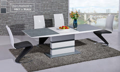 GiataliaArctic Extending Dining Table in Grey Glass With 6 Leona ChairsBlue Ocean Interiors