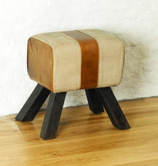 Roadie Chic Leather Footstool  foot stool- Blue Ocean Interiors