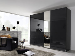 Miramar Typ1 Sliding Wardrobe with Mirror and Colour Glass Front  sliding door wardrobe- Blue Ocean Interiors