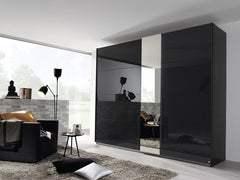 Miramar Typ1 Sliding Wardrobe with Mirror and Colour Glass Front and Lighting  sliding door wardrobe- Blue Ocean Interiors