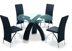 Marston Glass Dining Table with 4 Chairs  glass dining tables and chairs- Blue Ocean Interiors