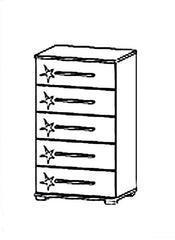 Homburg 5 Drawer Chest Table Gloss White Fronts  chest of drawers- Blue Ocean Interiors