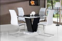 Zara Small Black Glass Dining Table With 4 Enzo Chairs  glass dining tables and chairs- Blue Ocean Interiors