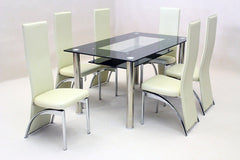 Vegas Black Glass Dining Table with 6 Chairs  glass dining tables and chairs- Blue Ocean Interiors