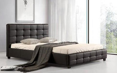 Lattice PU Double Bed  leather bed- Blue Ocean Interiors