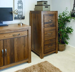 Mayan 3 Drawer Filing Cabinet in Walnut  filing cabinets- Blue Ocean Interiors