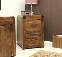 Shiro 2 Drawer Filing Cabinet In Walnut  filing cabinets- Blue Ocean Interiors
