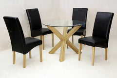 Saturn Medium Round Dining Table in Clear Glass with 4 Chairs  glass dining tables and chairs- Blue Ocean Interiors