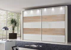 Hollywood Sliding Door Wardrobe with Glass Highlights Line 1, 3 and 5  sliding door wardrobe- Blue Ocean Interiors