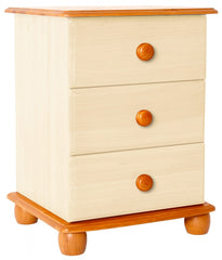 Skagen 3 Drawer Bedside in Cream and Pine  bedside table- Blue Ocean Interiors