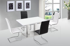 Walton High Gloss White Dining Table with 4 Chairs  wood dining table and chairs- Blue Ocean Interiors