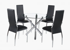 Heartlands FurnitureCalder Dining Table in Round Clear Glass With 4 ChairsBlue Ocean Interiors