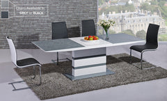 GiataliaArctic Extending Dining Table in Grey Glass With 6 Encore ChairsBlue Ocean Interiors
