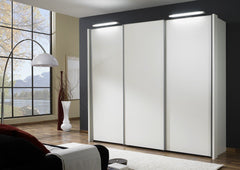 Miami 2 Sliding Door Wardrobe with White Glass Doors  sliding door wardrobe- Blue Ocean Interiors