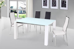 Venture High Gloss Dining Table With Glass Top Options and 4 Chairs  glass dining tables and chairs- Blue Ocean Interiors