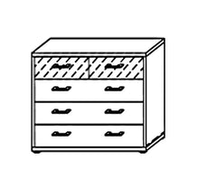 Plus-2 Chest with 5 Drawers and Glass Ovelay  chest of drawers- Blue Ocean Interiors