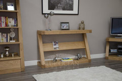 Z Oak Designer Wide Console Table With Shelf  console table- Blue Ocean Interiors